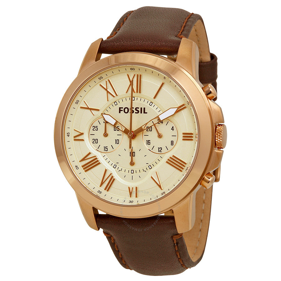 Fossil Grant Chronograph Eggshell Dial Brown Leather Men's Watch FS4991