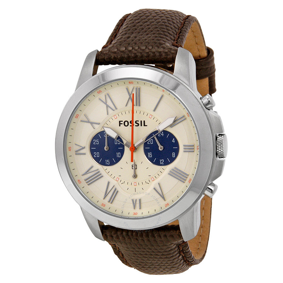 Fossil Grant Chronograph White Dial Leather Strap Men's Watch FS5021