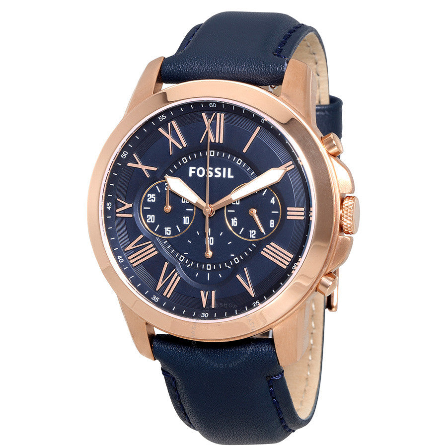 Fossil Grant Multi-Function Navy Dial Leather Strap Men's Watch FS4835