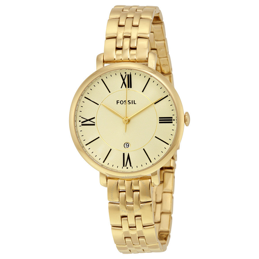 Fossil Jacqueline Champagne Dial Gold-tone Ladies Watch ES3434