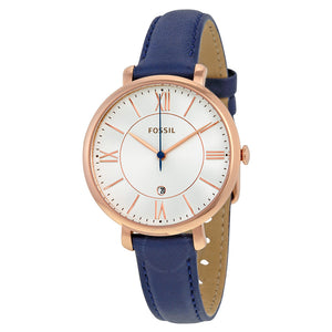 Fossil Jacqueline Silver Dial Navy Leather Ladies Watch ES3843