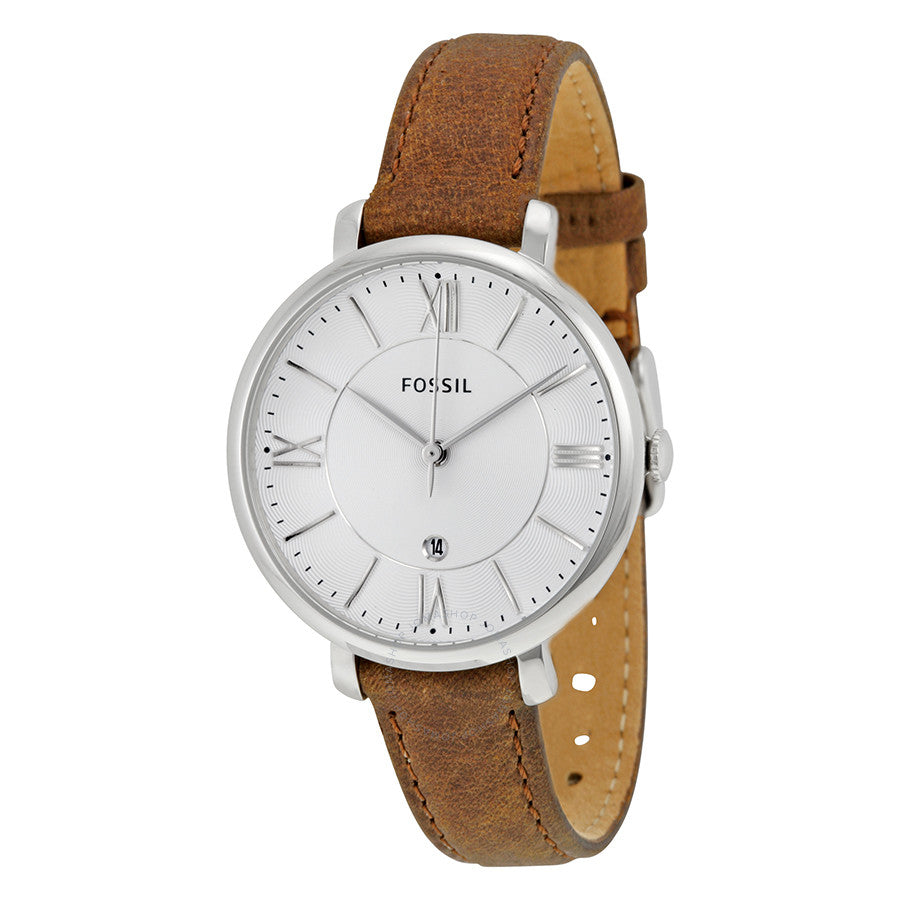Fossil Jacqueline Silver Dial Tan Leather Strap Ladies Watch ES3708