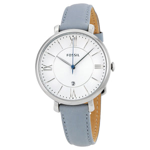 Fossil Jacqueline Smokey White Dial Leather Strap Ladies Watch ES3821