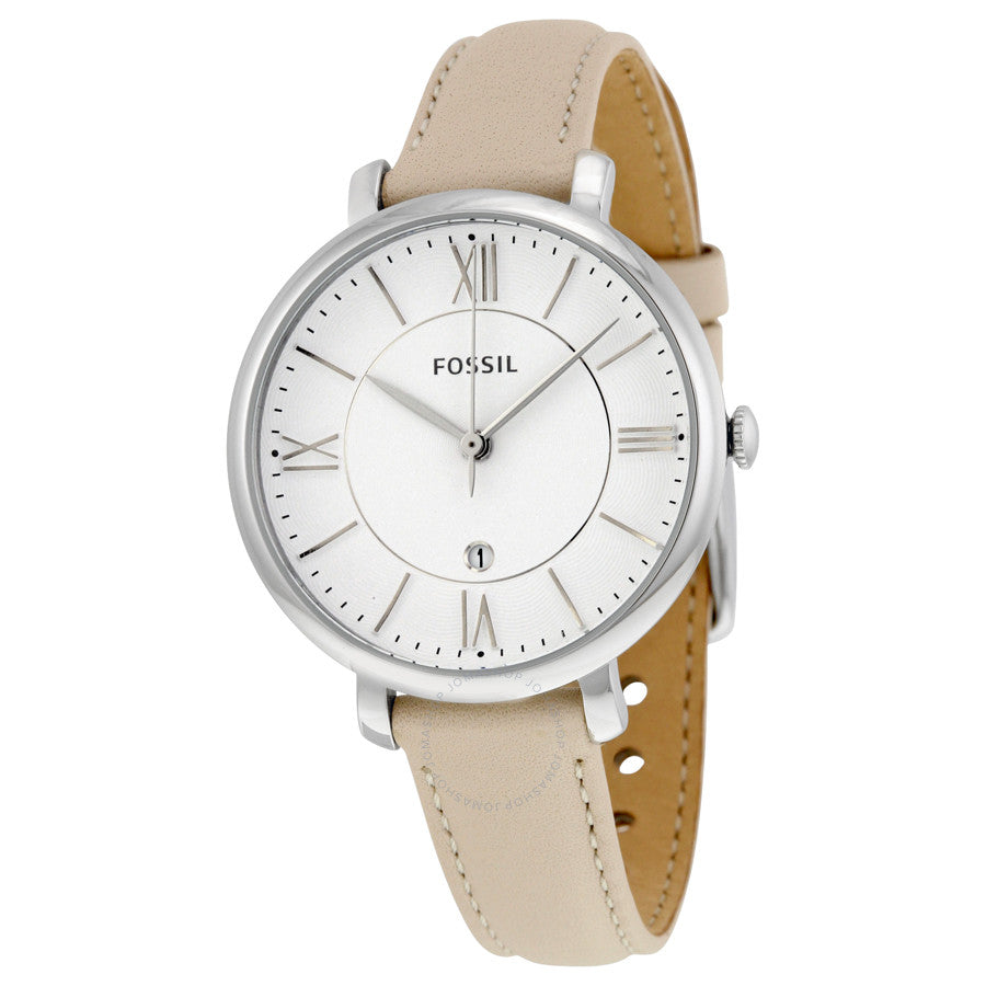 Fossil Jacqueline White Dial Leather Strap Ladies Watch ES3793