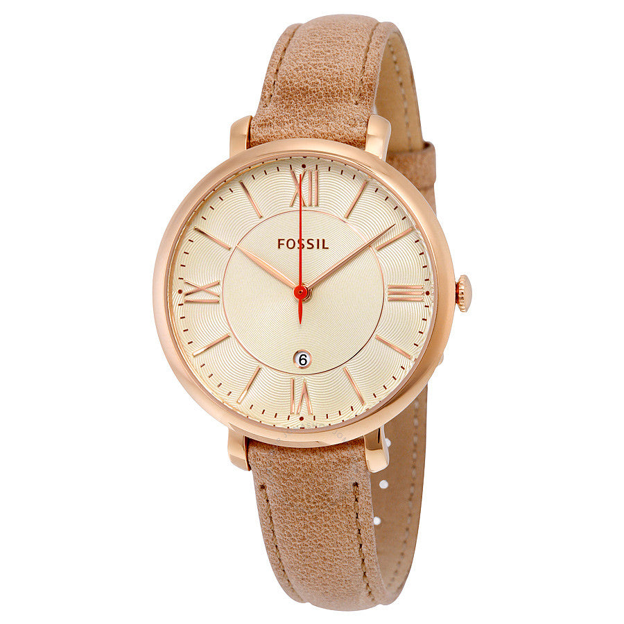 Fossil Jacqueline White Dial Camel Leather Strap Ladies Watch ES3487