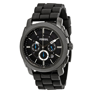 Fossil Machine Chronograph Black Dial Silicone Strap Men's Watch FS4487