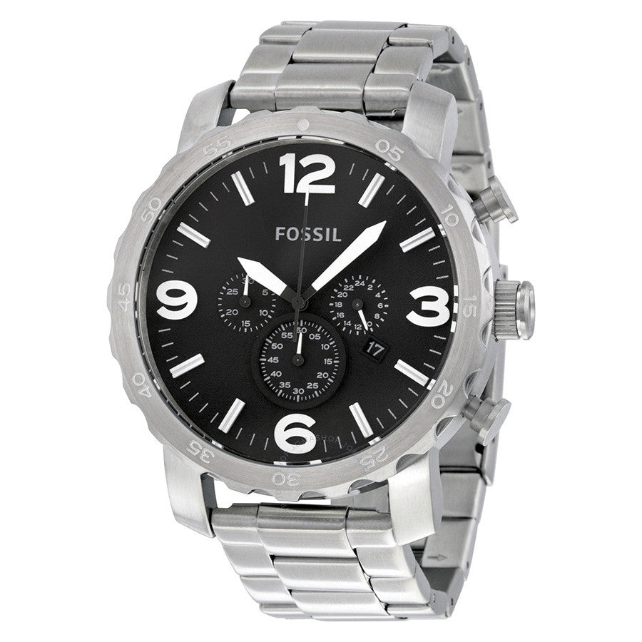 Fossil Nate Chronograph Black Dial Men's Watch JR1353