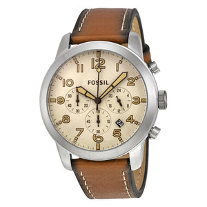 Fossil Pilot 54 Chronograph Beige Dial Leather Strap Men's Watch FS5144