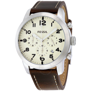 Fossil Pilot 54 Chronograph Cream Dial Leather Men's Watch FS5146