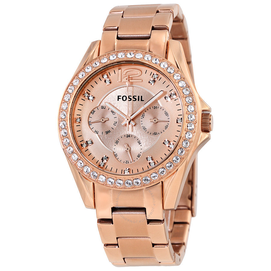 Fossil Riley Multi-Function Rose Gold-plated Ladies Watch ES2811