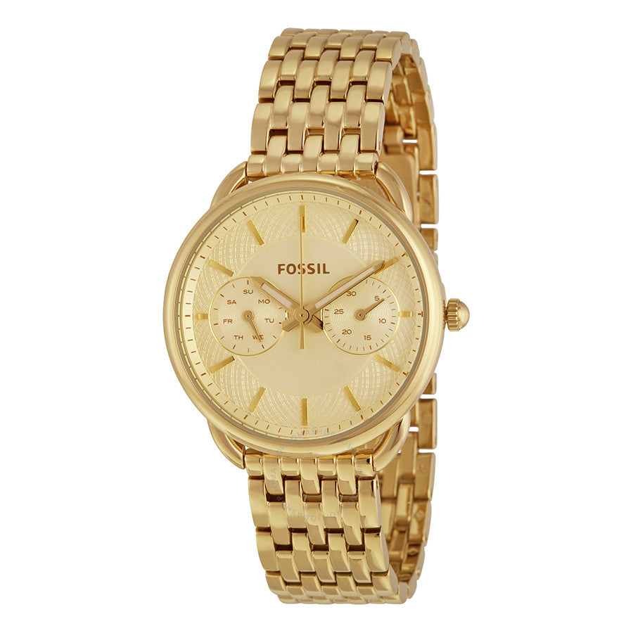 Fossil Tailor Multifunction Gold Dial Stainless Steel Ladies Watch ES3714