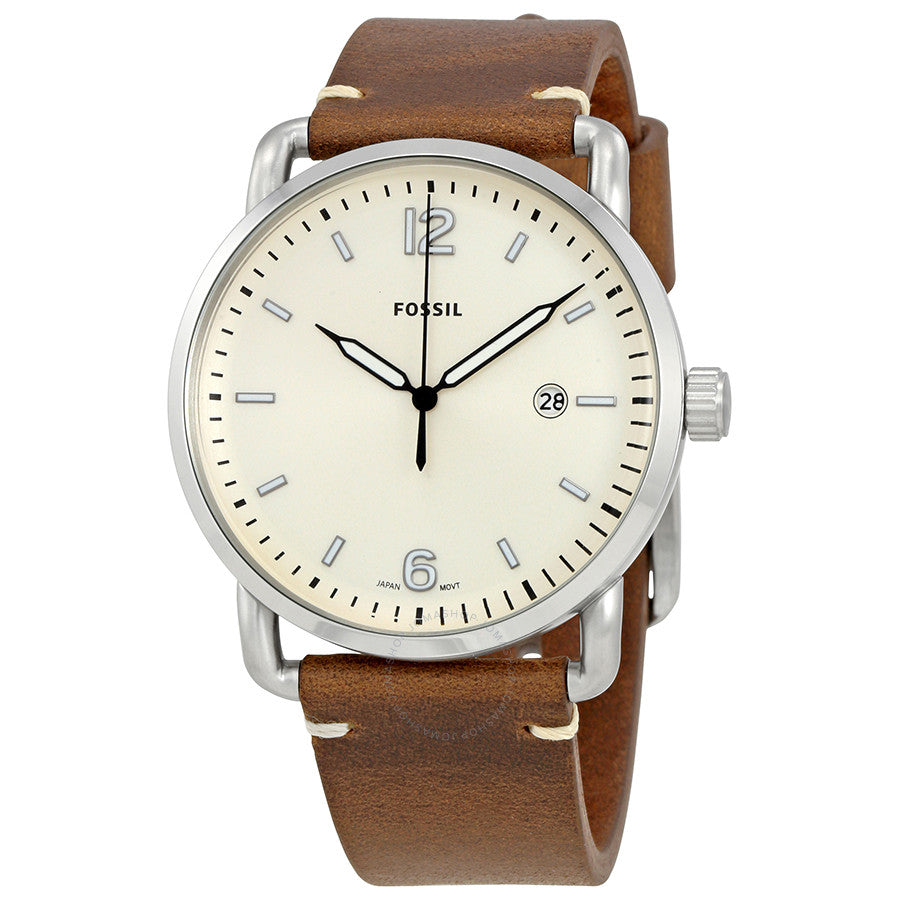 Fossil Commuter Cream Dial Brown Leather Men's Watch FS5275