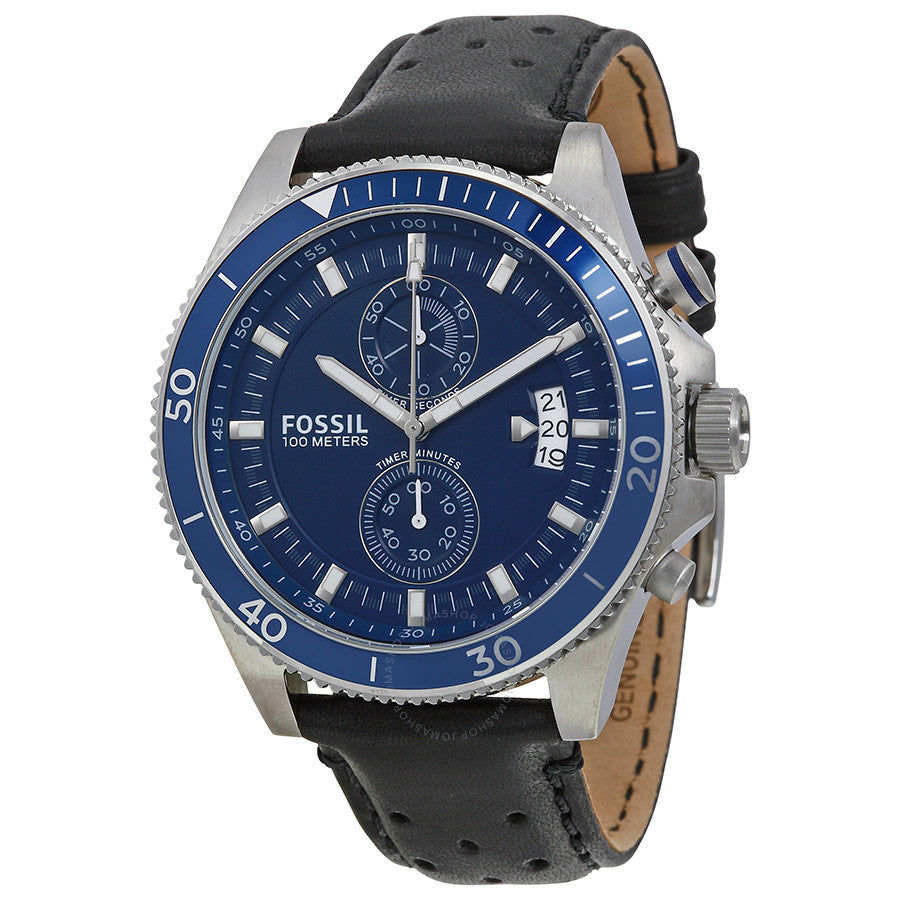 Fossil Wakefield Chronograph Blue Dial Black Leather Men's Watch CH2945