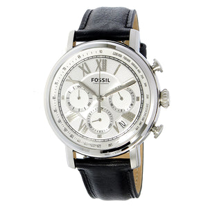 Fossil Buchanan Chronograph Silver Dial Black Leather Men's Watch FS5102