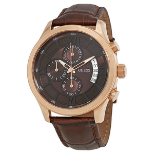 Guess Bronze Chronograph Dial Leather Strap Men's Watch W14052G2