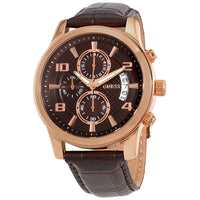 Guess Exec Brown Dial Leather Strap Men's Watch W0076G4