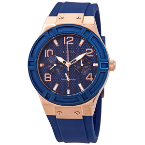 Guess Jet Setter Blue Dial Silicone Strap Watch W0571L1