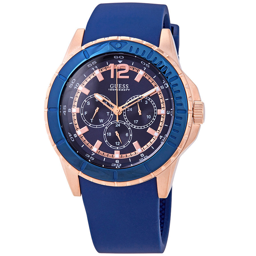 Guess Multi-Function Blue Dial Silicone Strap Men's Watch W0485G1