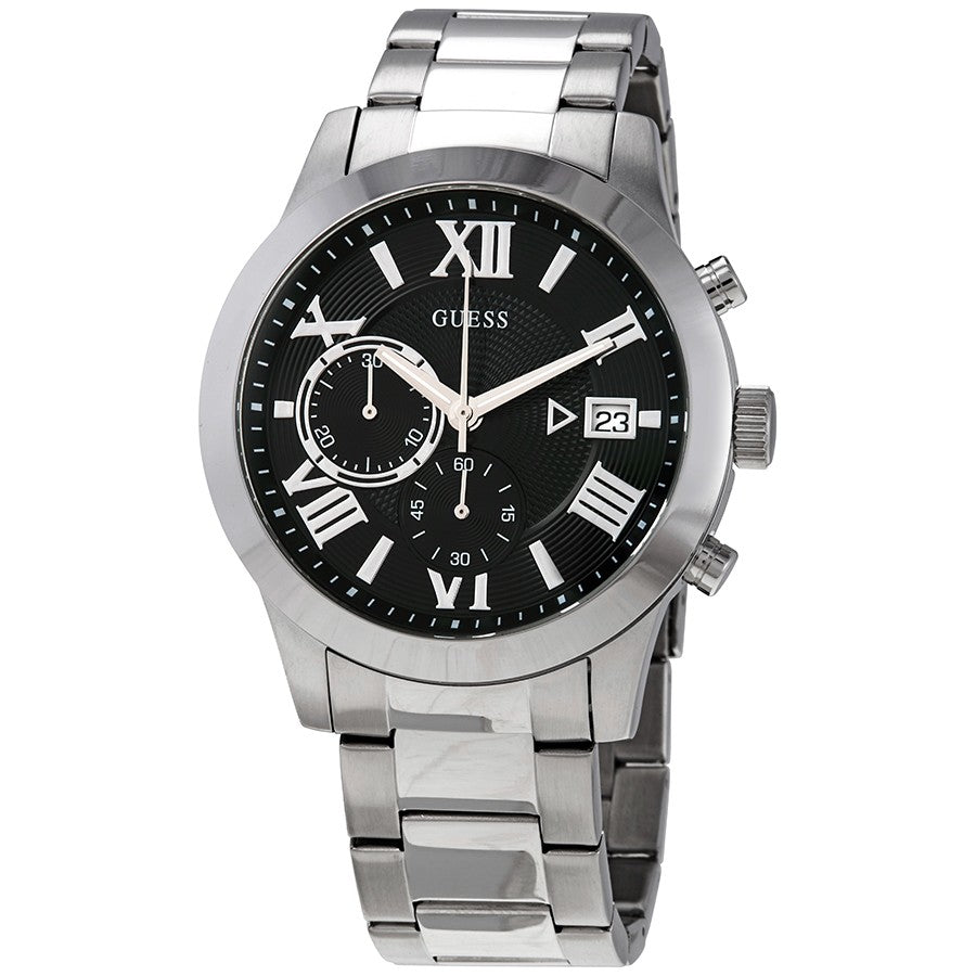 Guess Black Dial Silver-Tone Stainless Steel Men's Watch W0668G3