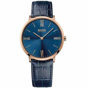 Hugo Boss Jackson Blue Dial Leather Strap Men's Watch 1513371 Water resistance: 30 meters Movement: Quartz