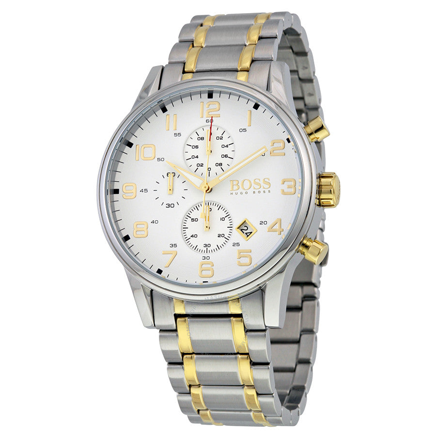 Hugo Boss Aeroliner Chronograph White Dial Two-tone Men's Watch 1513236 Water resistance: 50 meters / 165 feet Movement: Quartz