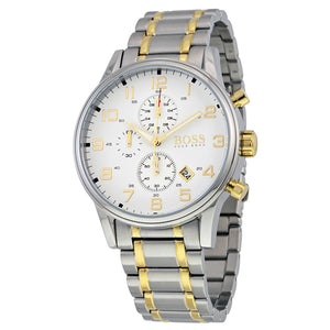 Hugo Boss Aeroliner Chronograph White Dial Two-tone Men's Watch 1513236