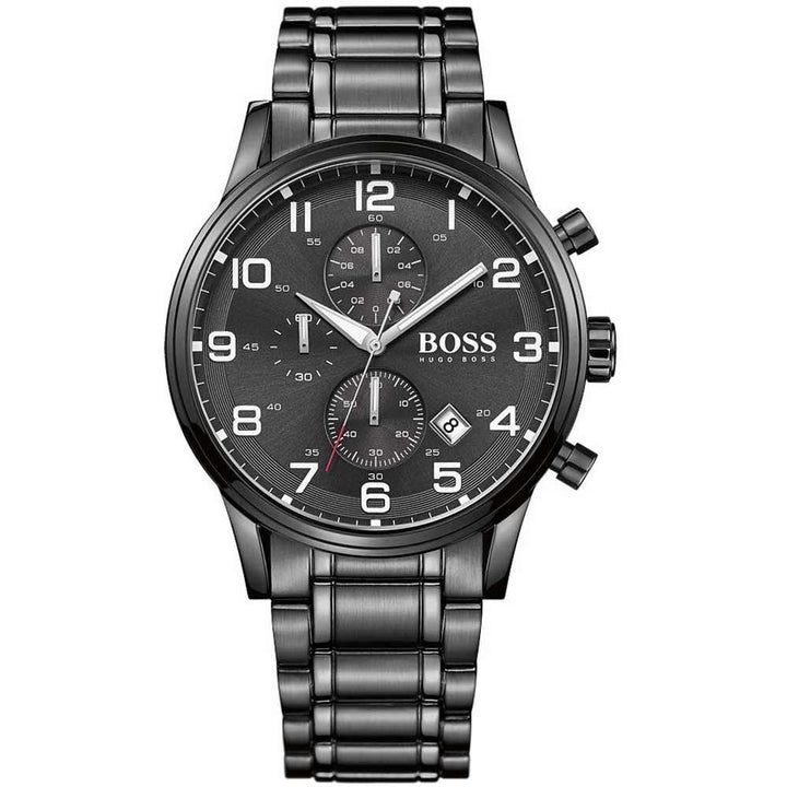 Hugo Boss Aeroliner Chronograph Black Dial Men's Watch 1513180 Water resistance: 50 meters / 165 feet Movement: Quartz