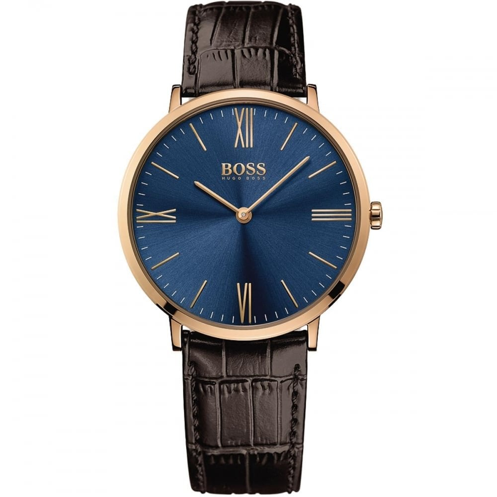 Hugo Boss Jackson Blue Dial Leather Strap Men's Watch 1513458 Water resistance: 30 meters Movement: Quartz