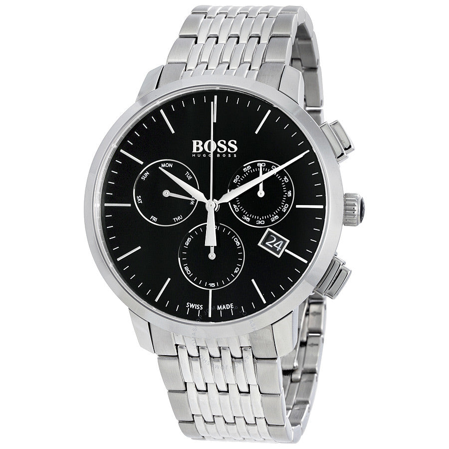 Hugo Boss Swiss Made Slim Chronograph Black Dial Men's Watch 1513267 Water resistance: 30 meters / 100 feet Movement: Quartz