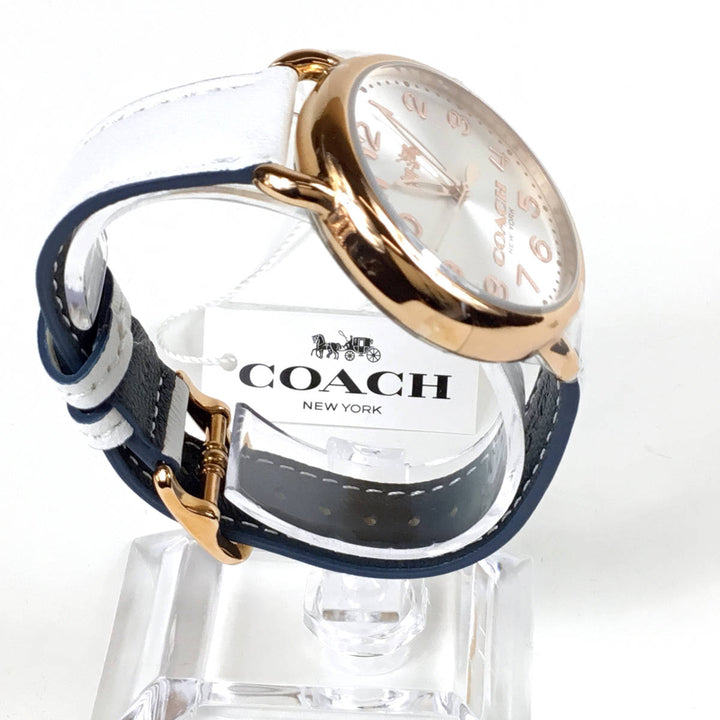 Coach Delancey White Dial Leather Strap Ladies Watch 14502562
