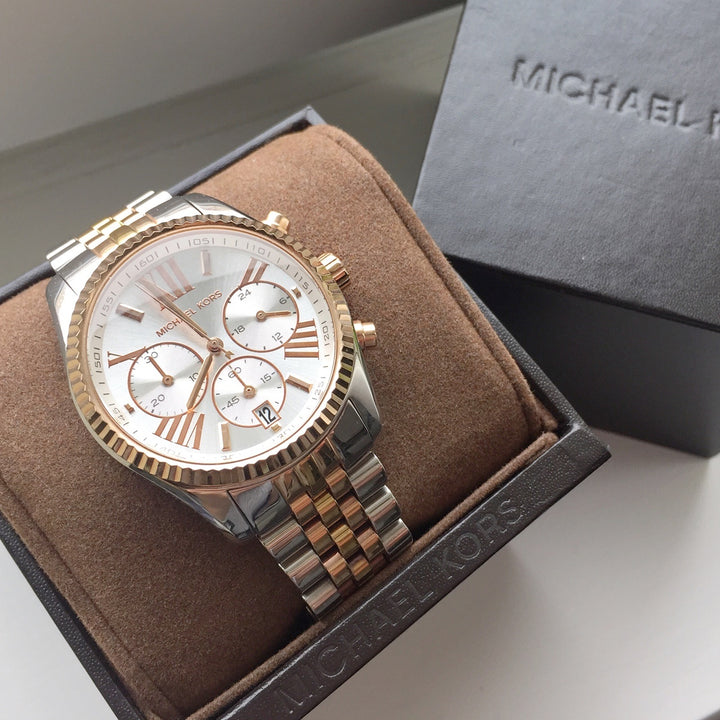 Michael Kors Lexington Chronograph Dial Tri-Tone Ladies Watch MK5735 Water resistance: 100 meters / 330 feet Movement: Quartz