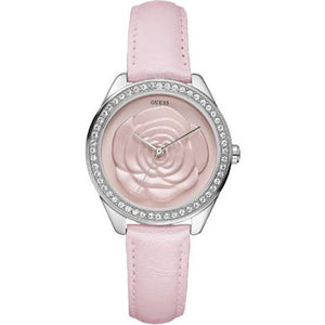 Guess Rosette Pink Dial Leather Strap Ladies Watch W75043L2