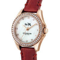 Coach Mother of Pearl Dial Red Leather Strap Ladies Watch 14502315
