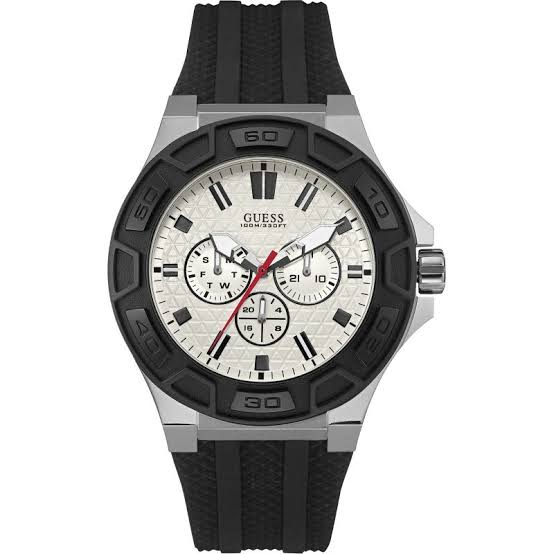 Guess Force White Dial Rubber Strap Men's Watch W0674G3