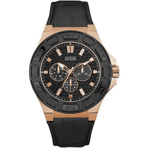 Guess Force Black Dial Leather Strap Men's Watch W0674G6