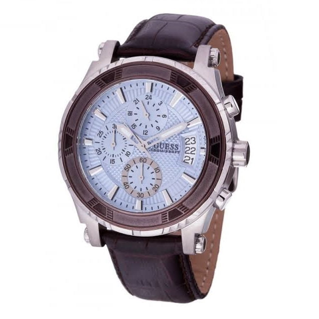 Guess Chronograph Blue Dial Leather Strap Men's Watch W0673G1