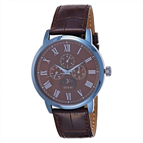Guess Multi-Function Brown Dial Leather Strap Men's Watch W0870G3