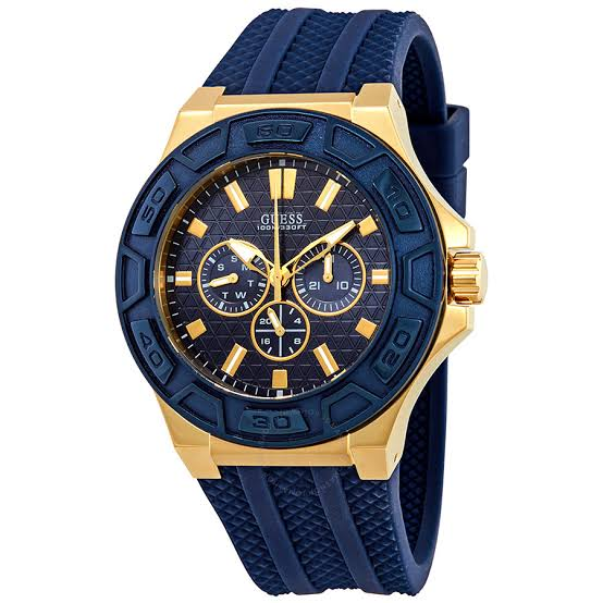 Guess Force Blue Dial Rubber Strap Men's Watch W0674G2