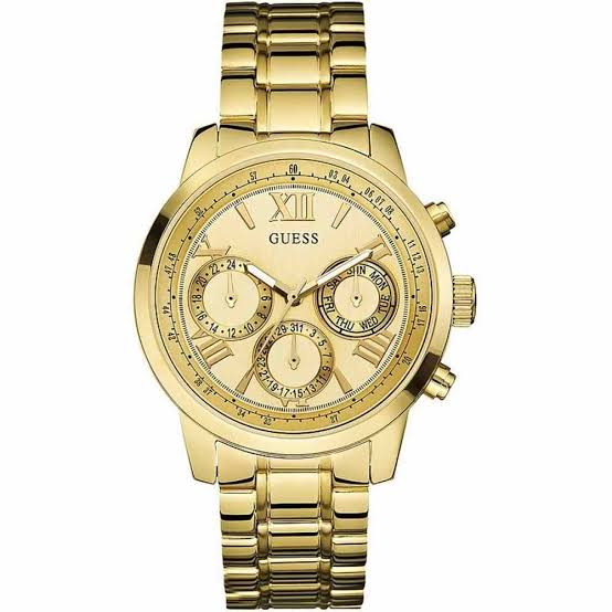 Guess Multi-Function Gold Dial Stainless Steel Watch W0448L2