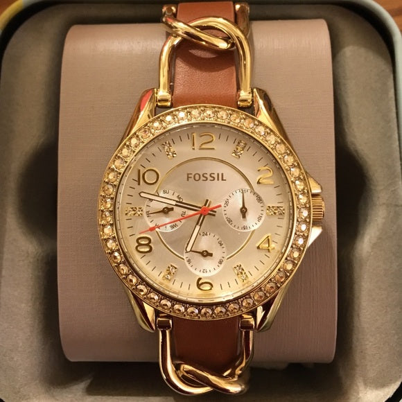 Fossil Riley Multifunction Silver Dial Ladies Watch ES3723