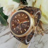 Michael Kors Jet Set Tortoise Shell Acrylic Strap Ladies Watch MK5038