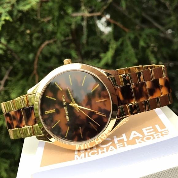 Michael Kors Slim Runway Tortoise-shell Dial Ladies Watch MK4284