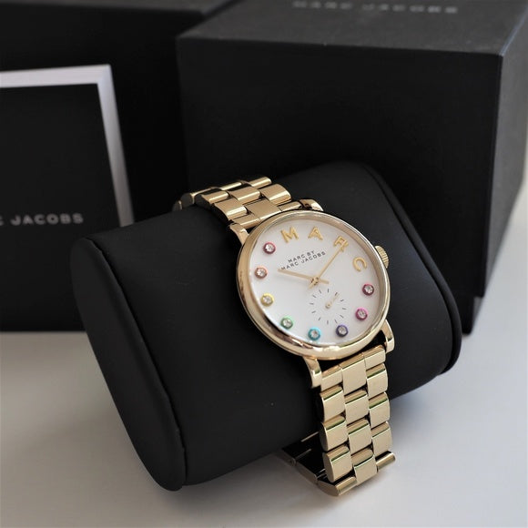 Marc Jacobs Baker White Dial Gold 36mm Ladies Watch MBM3440