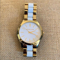 Michael Kors Slim Runway White Dial Gold-tone Ladies Watch MK4295