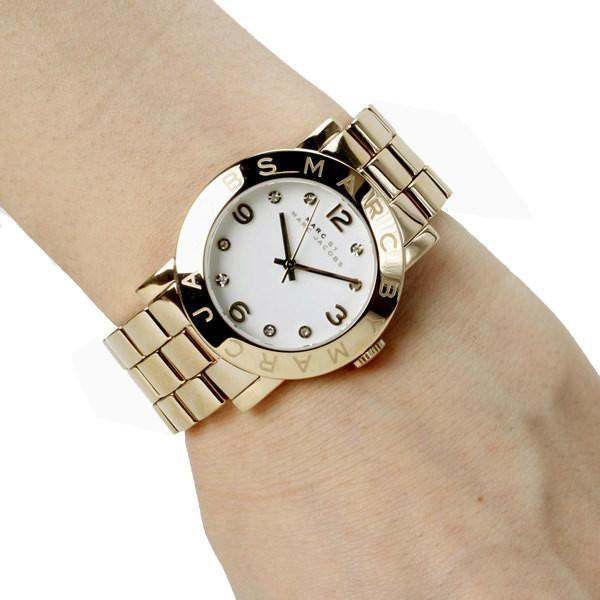 Marc Jacobs Amy White Dial Gold 36mm Ladies Watch MBM3056