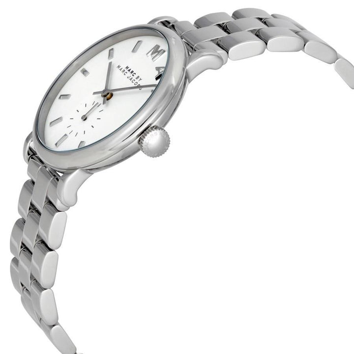 Marc Jacobs Baker White Dial Silver Tone 36.5mm Ladies Watch MBM3242 - Big Daddy Watches