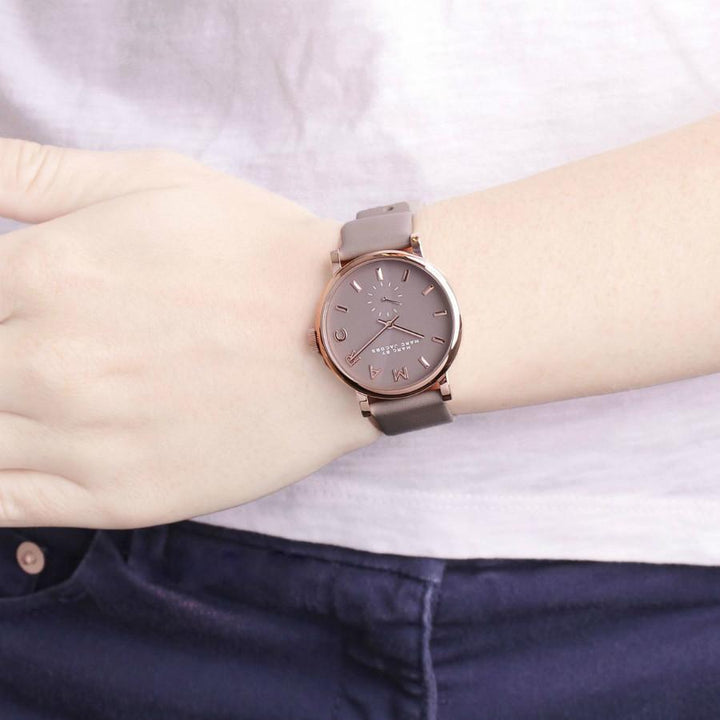 Marc Jacobs Baker Grey Dial Leather Strap 36mm Ladies Watch