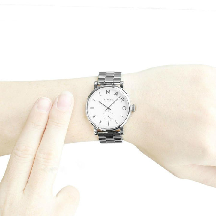 Marc Jacobs Baker White Dial Silver Tone 36.5mm Ladies Watch