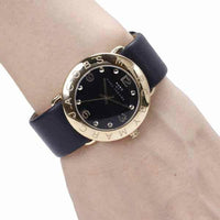 Marc Jacobs Amy Black Dial Leather Strap 37mm Ladies Watch MBM1154