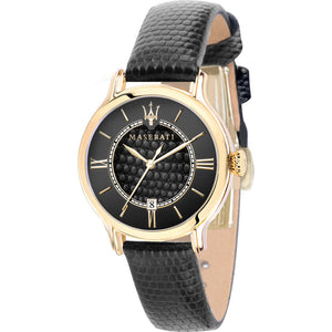 Maserati Epoca Black Dial Leather Strap Ladies Watch R8851118501